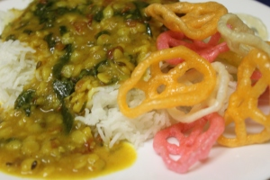 Dal Palak served with Rice