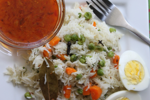 Vegetable Pulao with Tomato Curry